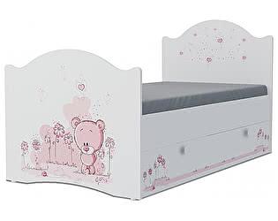 Детская кровать Klukva Мишка girl Эксклюзив KХ-16Y (ящик ЛДСП выкатной)