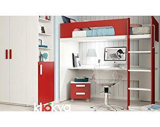Кровать-чердак Klukva Юниор Красный чили с компьютерным столом BR 03 R/L