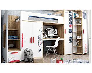 Кровать-чердак Klukva Юниор принт Hockey (ящик+комп.стол+шкаф) BR 06 R/L