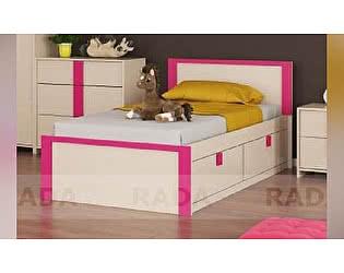 Детская кровать Рада Пионер с ящиками на 900, фуксия