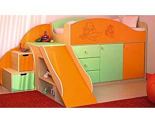 Кровать с лесенкой VitaMebel Vitamin P, МДФ металлик (70х160)