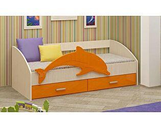 Детская кровать Регион 58 Дельфин-4 МДФ оранжевый (80х160)