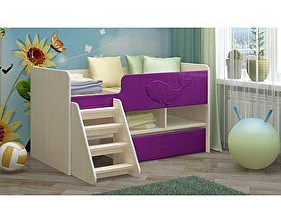 Детская кровать Регион 58 Юниор-3 МДФ сиреневый (700х1400)