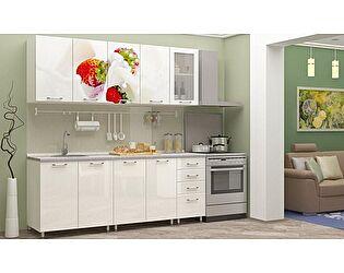 Кухня с фотопечатью Регион 58 Клубника со стеклостворкой 2,0 м МДФ