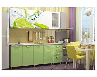 Кухня с фотопечатью Регион 58 Лайм со стеклостворкой 2,0 м МДФ