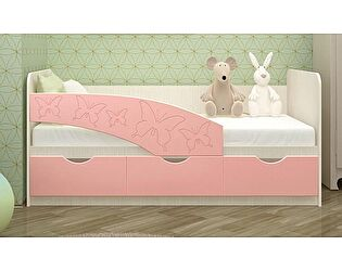 Детская кровать Московский Дом Мебели Бабочки 80/160, розовый