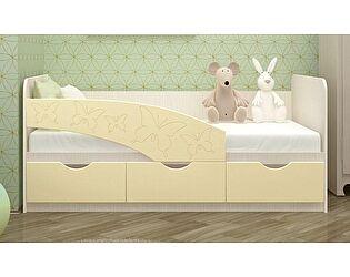 Детская кровать Московский Дом Мебели Бабочки 80/160, ваниль
