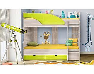 Двухъярусная кровать Диал Бриз-5 80х190 (лайм квадрат)