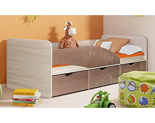 Детская кровать Диал Бриз-3 80х190 (шоколад волна)