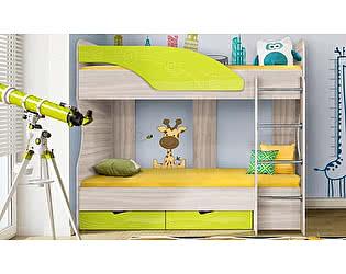 Двухъярусная кровать Диал Бриз-5 80х190 (лайм волна)