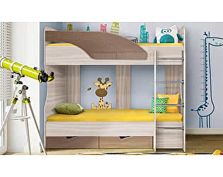 Двухъярусная кровать Диал Бриз-5 80х190 (шоколад волна)