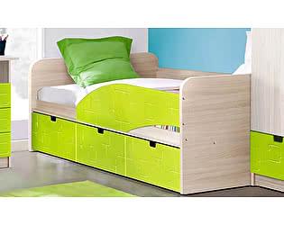 Детская кровать Диал Бриз-3 80х190 (лайм квадрат)