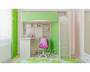 Кровать-чердак Браво Бэмби-4, зеленый металлик