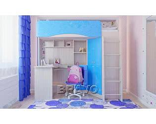Кровать-чердак Браво Бэмби-4, голубой металлик