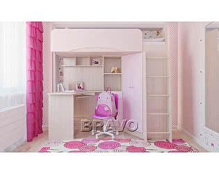Кровать-чердак Браво Бэмби-4, розовый металлик