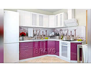 Модульная кухня Браво Греция (композиция 2) Белый металлик / Гранатовый металлик