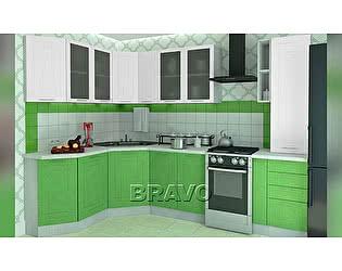Модульная кухня Браво Вега (композиция 2) Белый металлик / Салатовый металлик