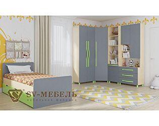 Модульная детская SV-мебель Алекс 1 (клен/титан), композиция 2
