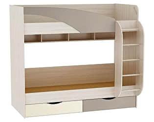 Двухъярусная кровать Браво Роман на 900 с ящиками, КР-703, глянец
