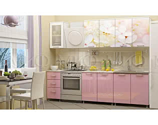Кухня Миф Вишнёвый цвет 2000 с фотопечатью