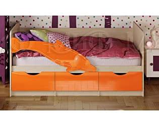 Купить кровать Миф Дельфин-1 МДФ 80х180 оранжевый матовый