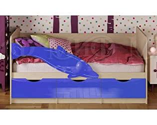 Детская кровать Миф Дельфин-1 МДФ 80х200 синий матовый
