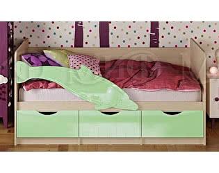 Детская кровать Миф Дельфин-1 МДФ 80х160 салатный глянец