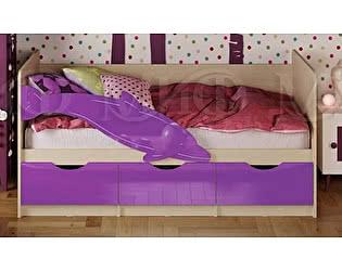Купить кровать Миф Дельфин-1 МДФ 80х180 фиолетовый глянец