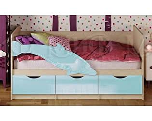 Детская кровать Миф Дельфин-1 МДФ 80х160 голубой матовый