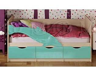 Детская кровать Миф Дельфин-1 МДФ 80х160 бирюзовый матовый