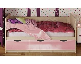 Купить кровать Миф Дельфин-1 МДФ 80х160 розовый матовый