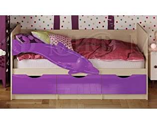Купить кровать Миф Дельфин-1 МДФ 80х160 фиолетовый матовый