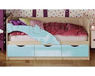 Детская кровать Миф Дельфин-1 МДФ 80х160 голубой глянец