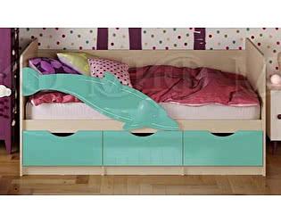 Детская кровать Миф Дельфин-1 МДФ 80х160 , бирюза  глянец