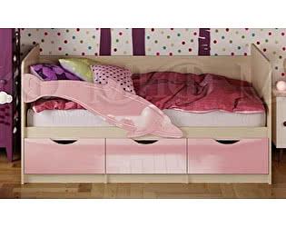 Купить кровать Миф Дельфин-1 МДФ 80х160 , розовый  глянец
