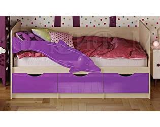 Купить кровать Миф Дельфин-1 МДФ 80х160 , фиолетовый  глянец
