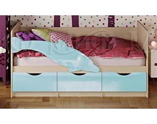 Детская кровать Миф Дельфин-1 МДФ 80х180 голубой матовый