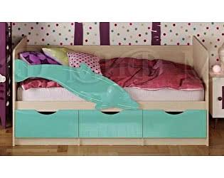 Купить кровать Миф Дельфин-1 МДФ 80х160, бирюза матовый