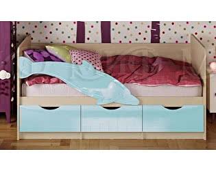 Детская кровать Миф Дельфин-1 МДФ 80х180 голубой глянец