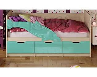 Детская кровать Миф Дельфин-1 МДФ 80х180 бирюза глянец