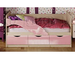 Купить кровать Миф Дельфин-1 МДФ 80х180 розовый глянец
