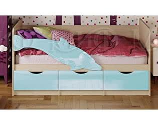 Детская кровать Миф Дельфин-1 МДФ 80х200 голубой глянец