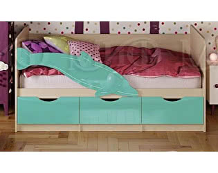 Детская кровать Миф Дельфин-1 МДФ 80х200 бирюза глянец