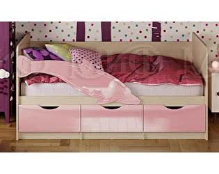Купить кровать Миф Дельфин-1 МДФ 80х200 розовый глянец