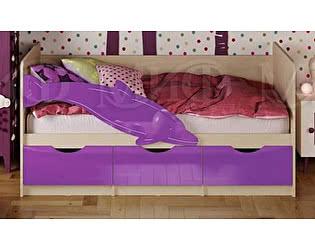 Купить кровать Миф Дельфин-1 МДФ 80х200 фиолетовый глянец
