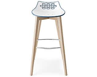 Барный стул M-City JAM W CB/1487, ash.P12 smoke/ P799-P12P WHITE/ GLOSSY SKY BLUE