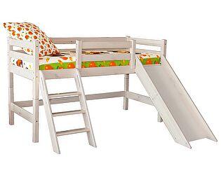 Кровать МебельГрад Соня низкая с наклонной лестницей и горкой, вариант 14