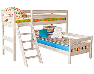 Кровать МебельГрад Соня угловая с наклонной лестницей, вариант 8