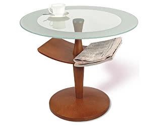Стол журнальный Рио 2 средне-коричневый/прозрачное