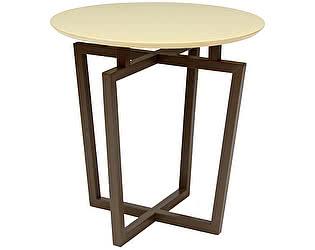 Стол журнальный Мебелик Рилле 440 темный кофе/бежевый круглый